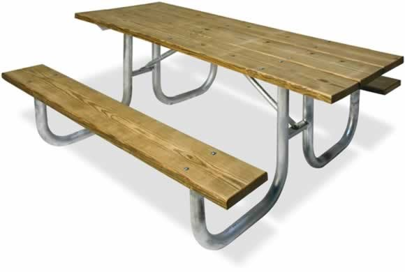 Traditional Heavy Duty Wood Metal Table Picnic Tables