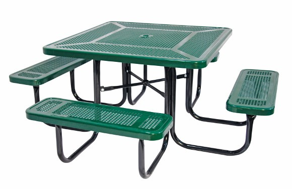 Square Perforated Metal Picnic Table Commercial Playground - Playground picnic table