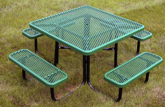 Square Expanded Metal Picnic Table Commercial Playground Equipment - Playground picnic table
