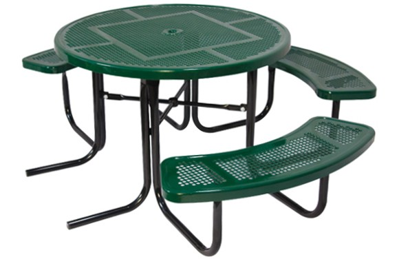 "46"" Round ADA Perforated Metal Picnic Table"