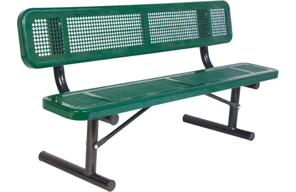 Perforated Metal Bench With Back Site Furnishings