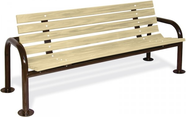 Double-Post Contour Wood Bench