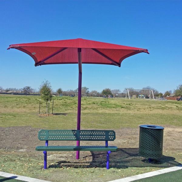 Single Post Square Umbrella Shade - Site Furnishings - American Playground Company