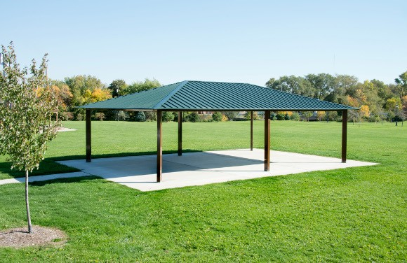 Steel Outdoor Shelters : Single tier rectangle steel shelter site furnishings