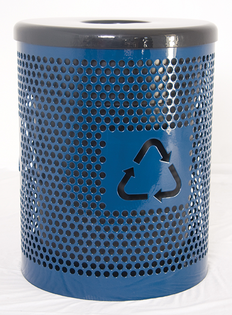 32 Gallon Perforated Metal Recycle Logo Trash Receptacle