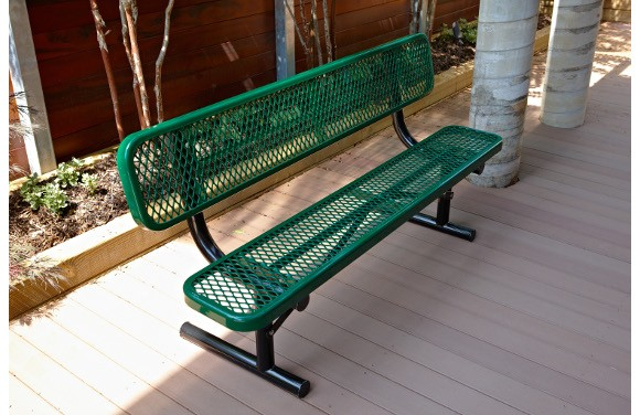 Expanded Metal Bench With Back Site Furnishings Commercial Playground Equipment