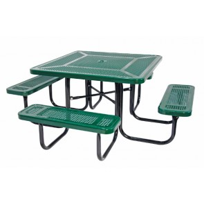 "46"" Square Perforated Metal Picnic Table"