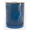 Recycle Logo Perforated Metal Trash Receptacle With Lid And Liner