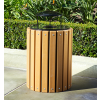 SLATED WOOD 32 GALLON TRASH RECEPTACLE WITH LINER AND LID